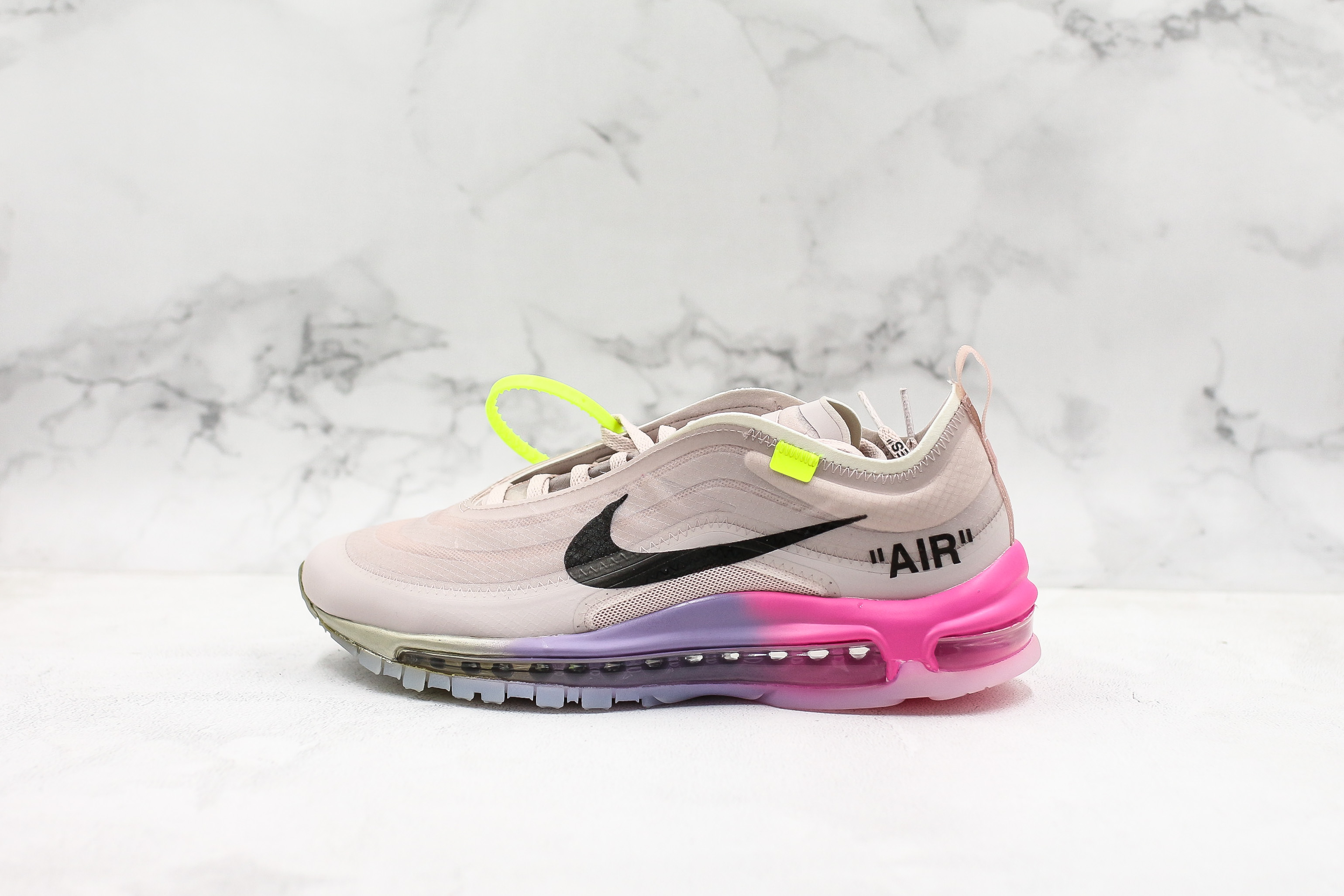 Women Off white x Nike Air Max 97 Pink Black White 36 40