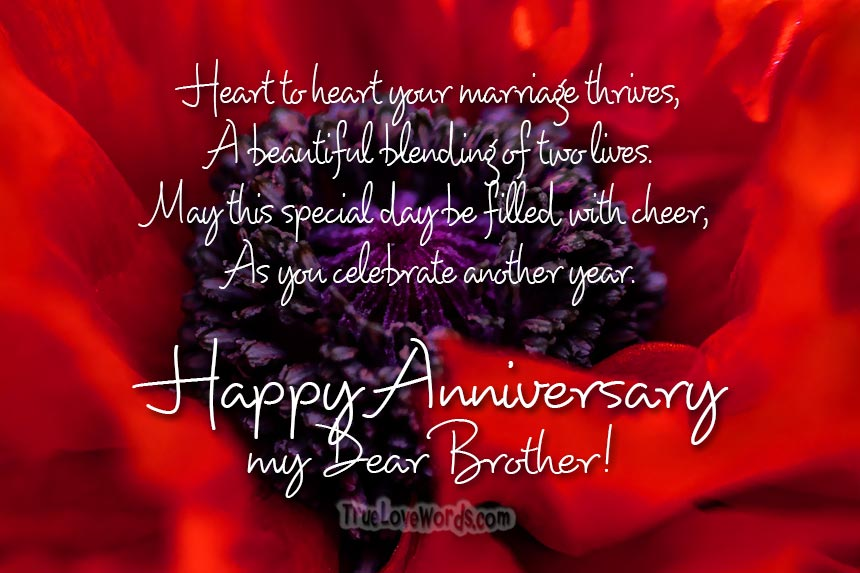 Wedding Anniversary Wishes For Brother True Love Words