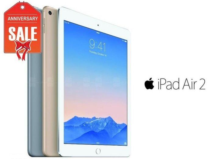 Apple iPad Air 2nd, WiFi + Unlocked – 16GB 32GB 64GB 128GB – Gray Silver Gold