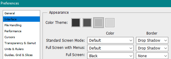 Adobe Photoshop Interface Settings