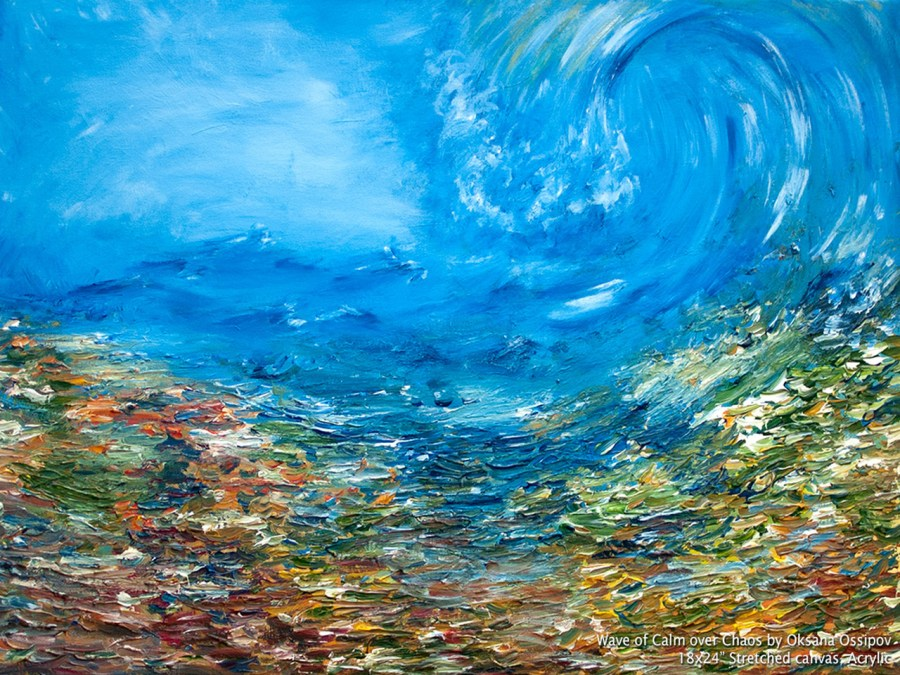 Wave of Calm over Chaos, original abstract painting  by Oksana Ossipov