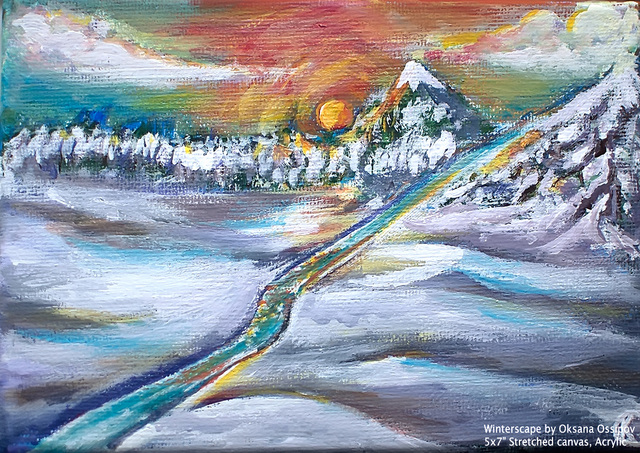 Winterscape, original landscape painting by Oksana Ossipov
