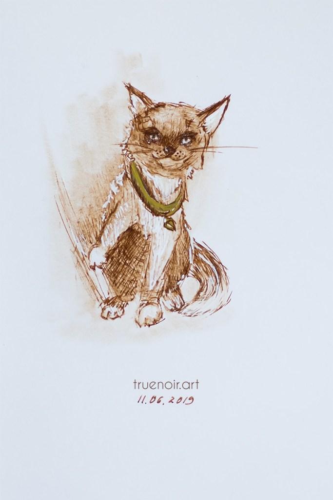 .025 Cat-fox, pen on paper