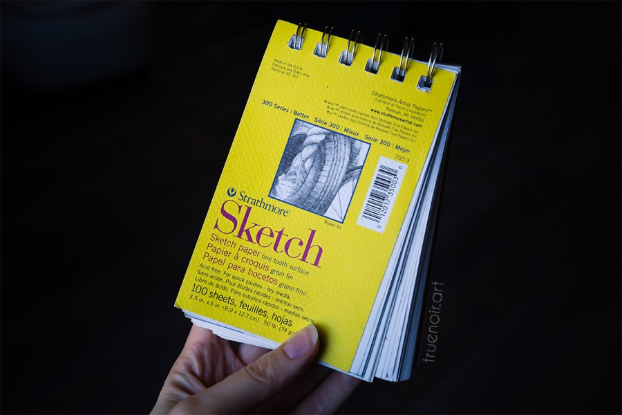 Photo of small 3.5 x 5 inch yellow Strathmore Sketch Pad that I use for this art challenge