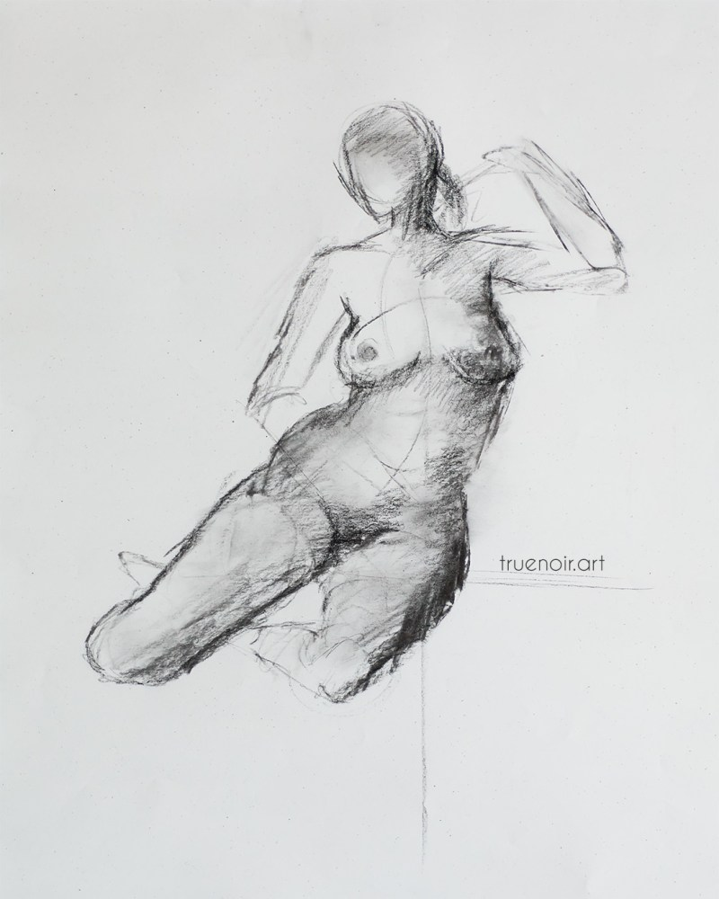 Leaning seated pose, charcoal figure drawing