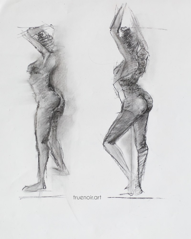 Two similar poses, charcoal drawing