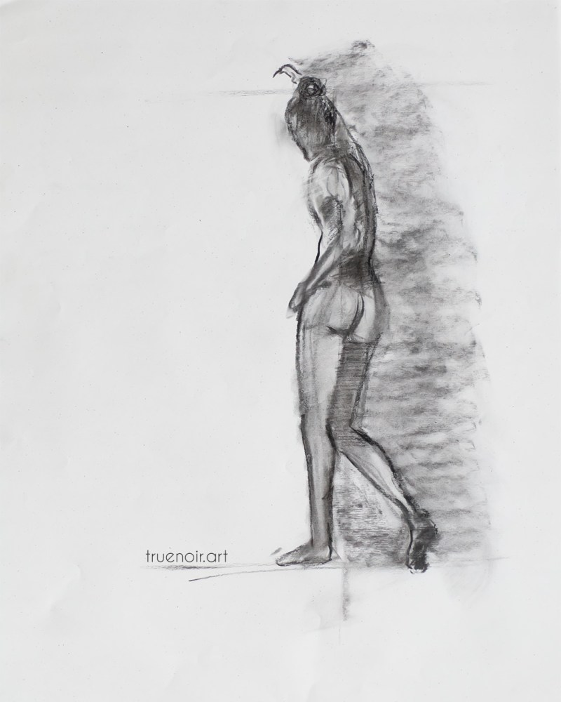 15-minute pose, charcoal drawing