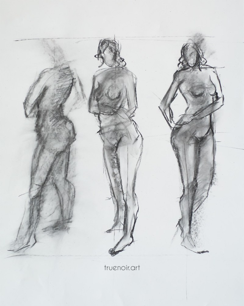 Female gesture poses, charcoal drawing