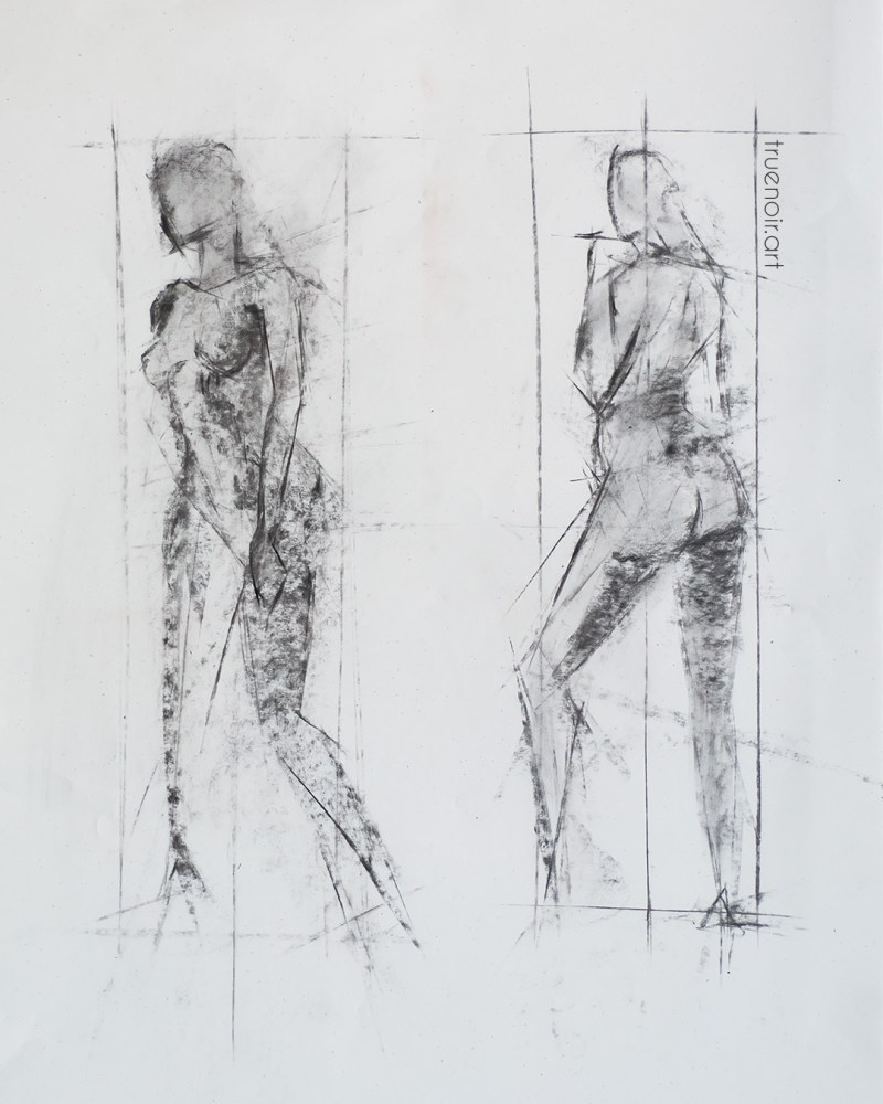 Short pose two-figure, charcoal drawing