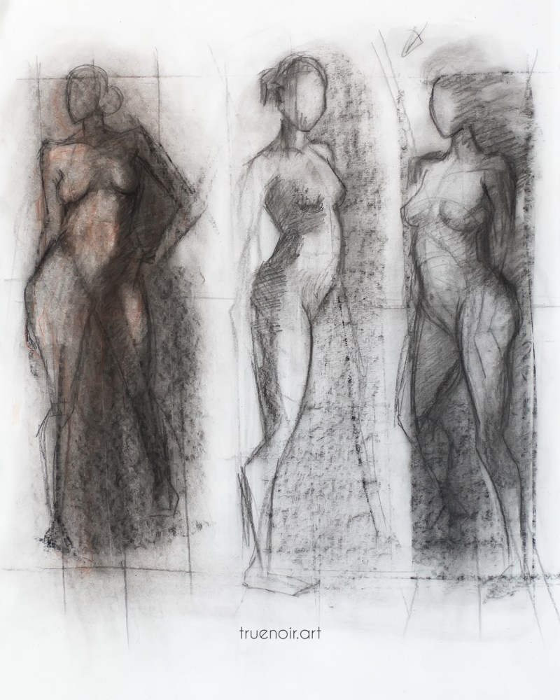 Dark figure, charcoal drawing