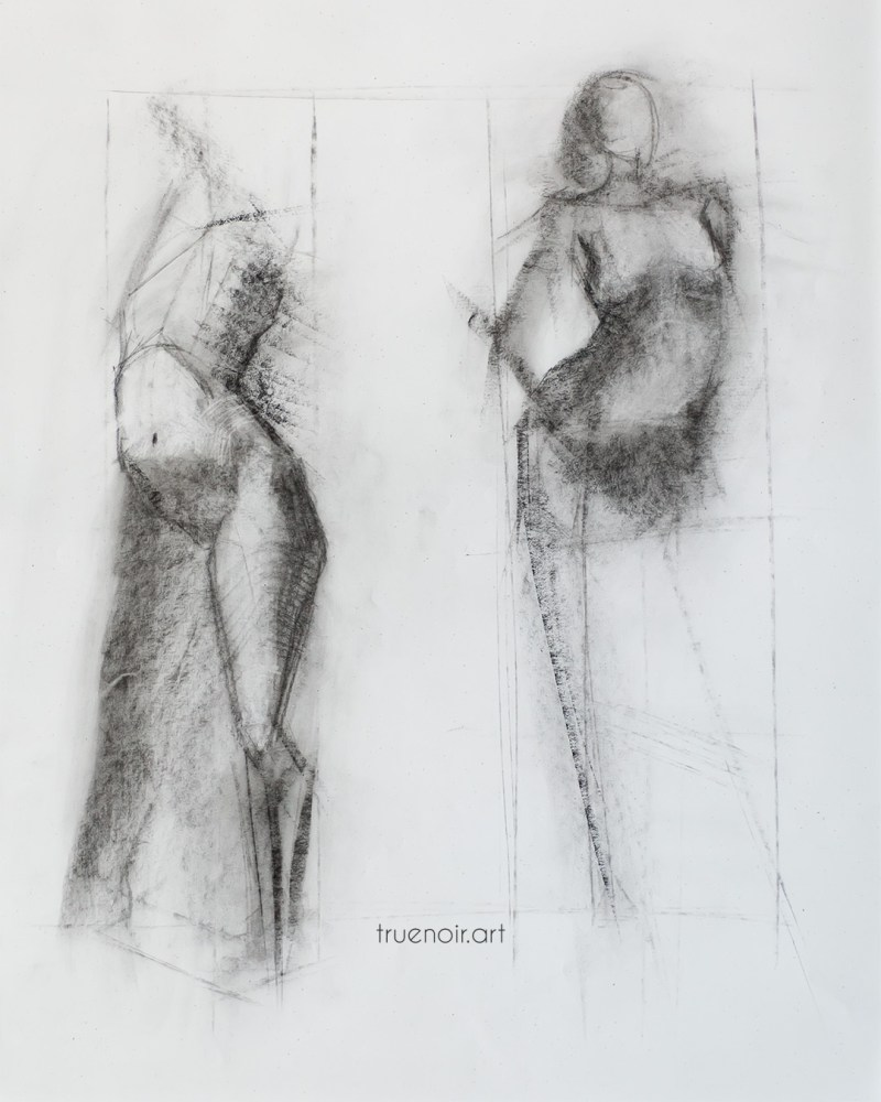 Two short poses, charcoal drawing