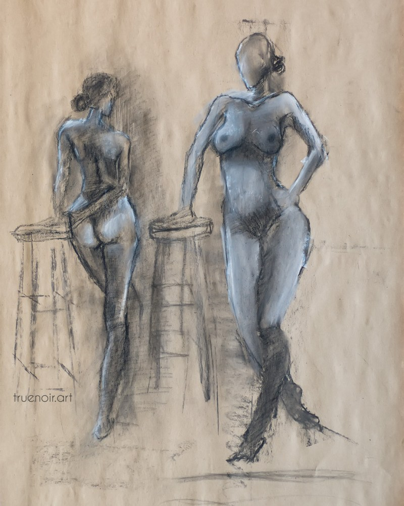 Two full figures, charcoal and pastel drawing