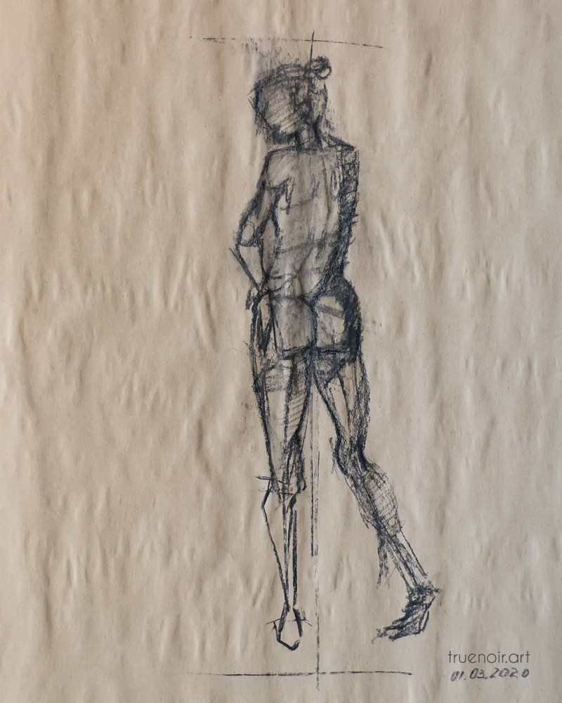 Male figure, charcoal drawing