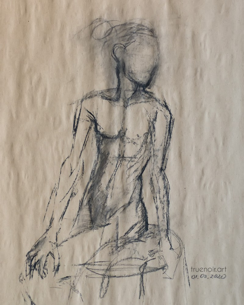 Sitting half-figure, charcoal drawing