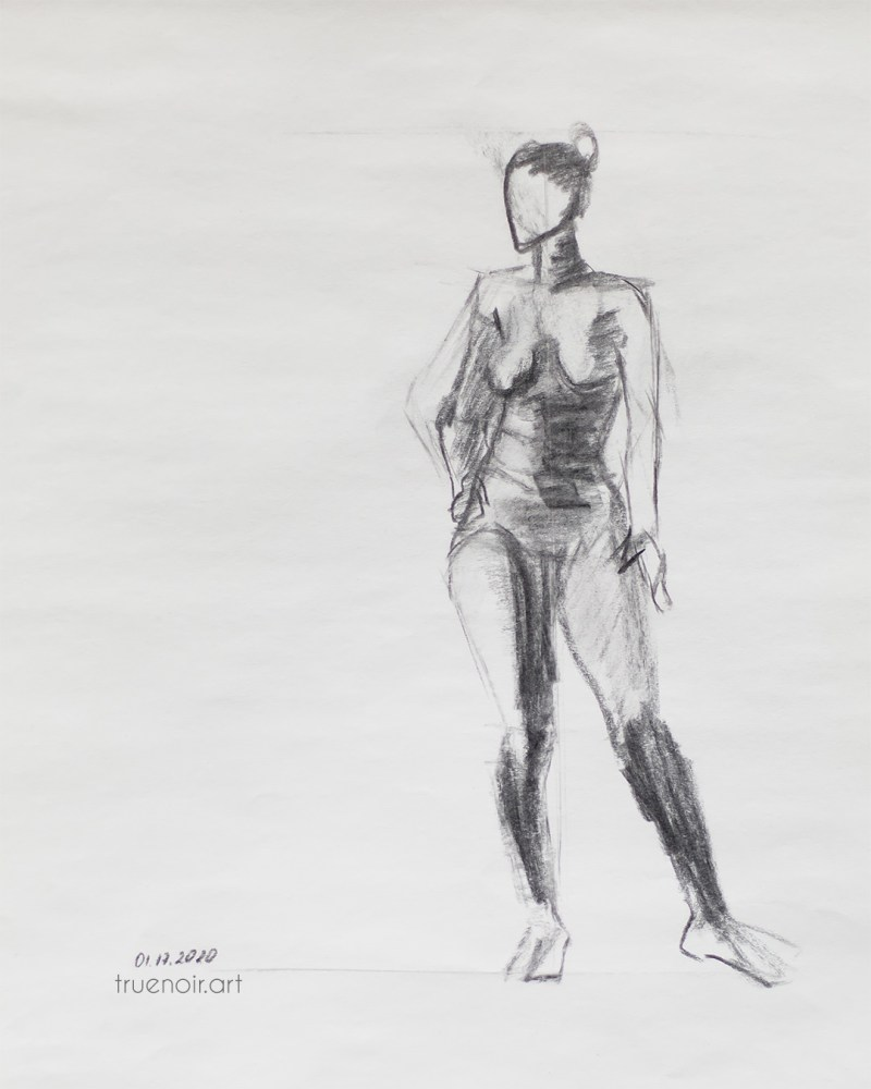 Single figure gesture, charcoal drawing