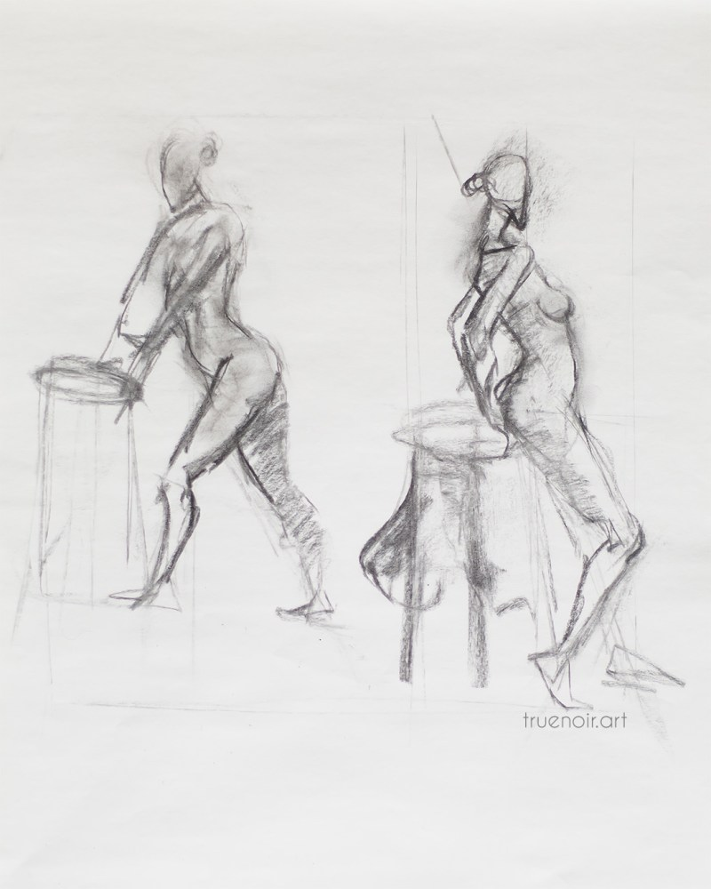 Leaning Figures, charcoal drawing
