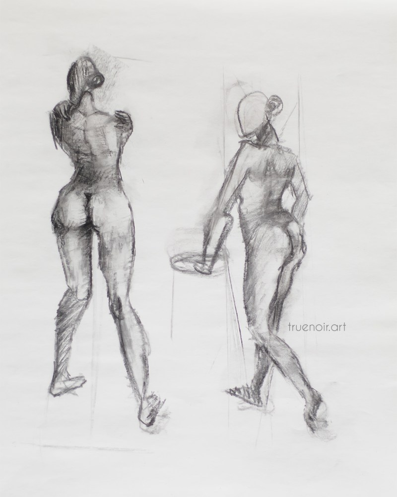 Standing figures, charcoal drawing