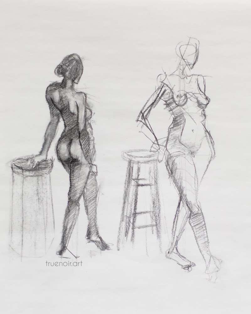 Short and shorter poses, charcoal drawing