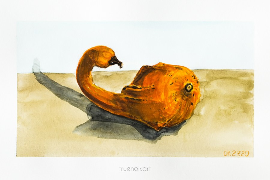 Duckling gourd, watercolor painting