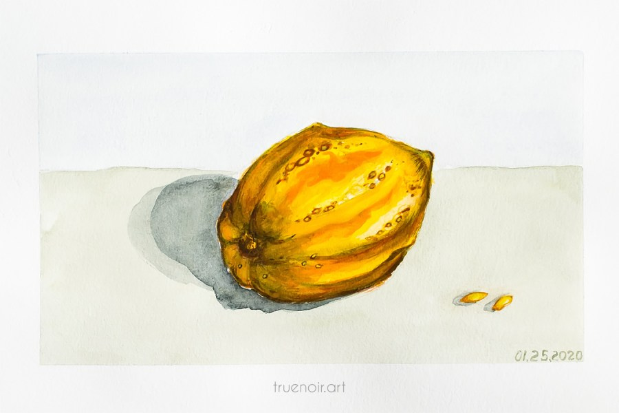 Yellow gourd, watercolor painting