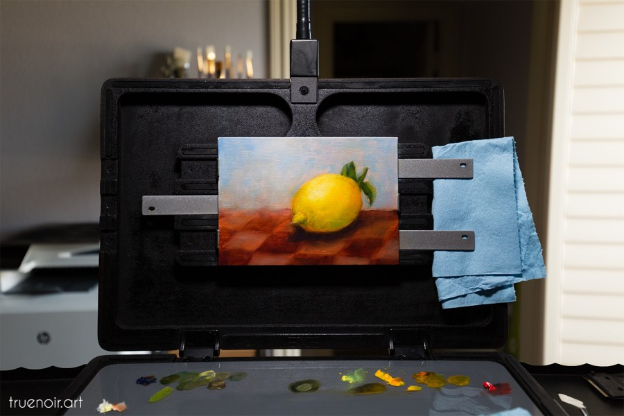 Lemon on the Checkered Tablecloth - intermediate painting stage