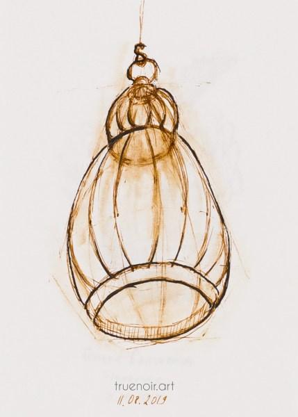 .027 Bird Cage, pen sketch