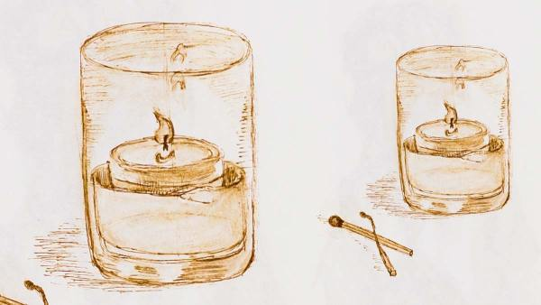 .038 Candle Table Decor, pen drawing