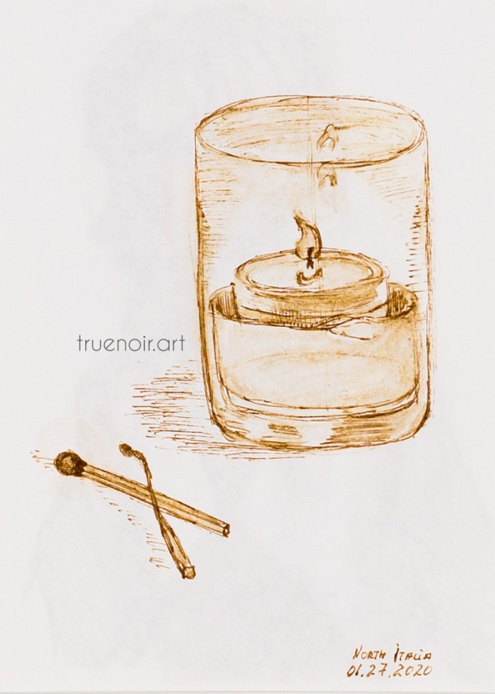 A pen drawing of candle suspended in water table decor at the North Italia restaurant