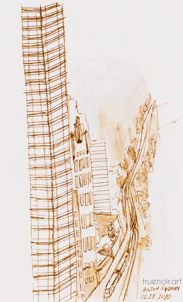 A sketch of a downtown view from Hilton Sydney Hotel