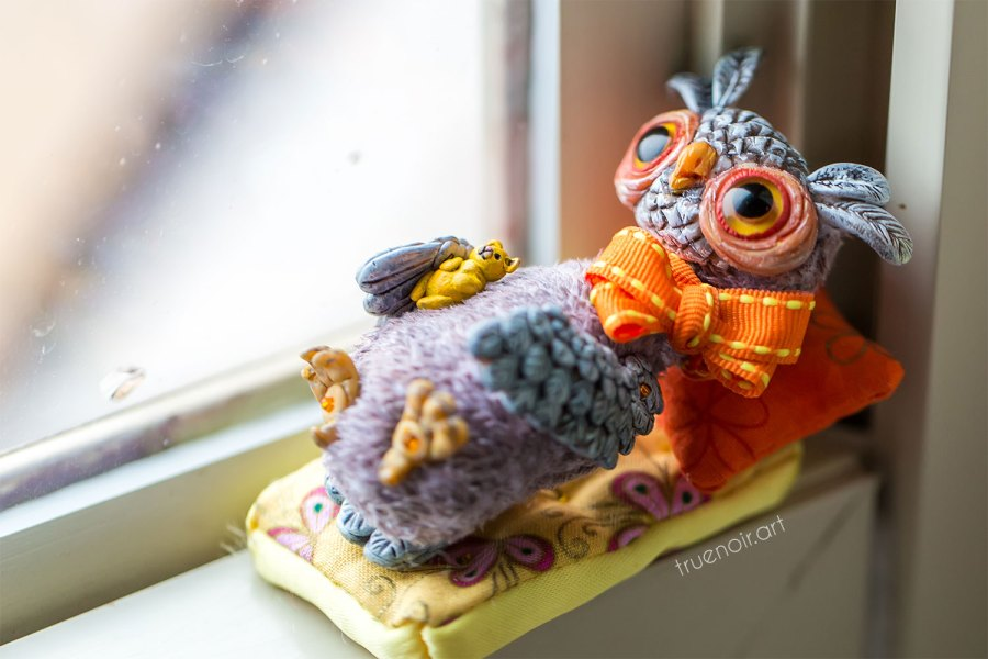 Sleepy Owl, art doll