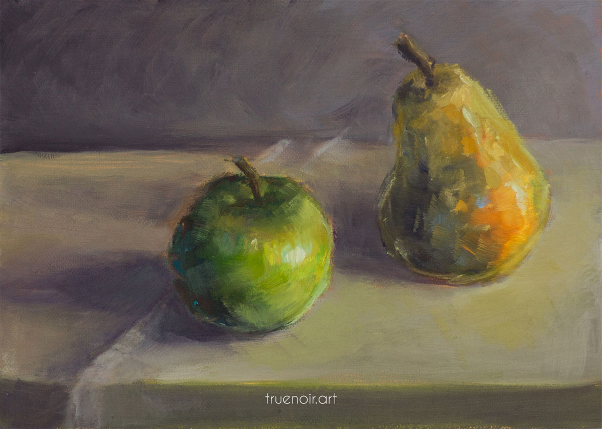 A still life painting of an apple and a pear on the table.
