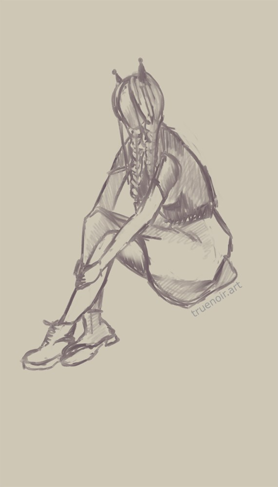 Sitting girl with braids. Gesture drawing of a 20-minute pose during life drawing sessions at TSoFA.