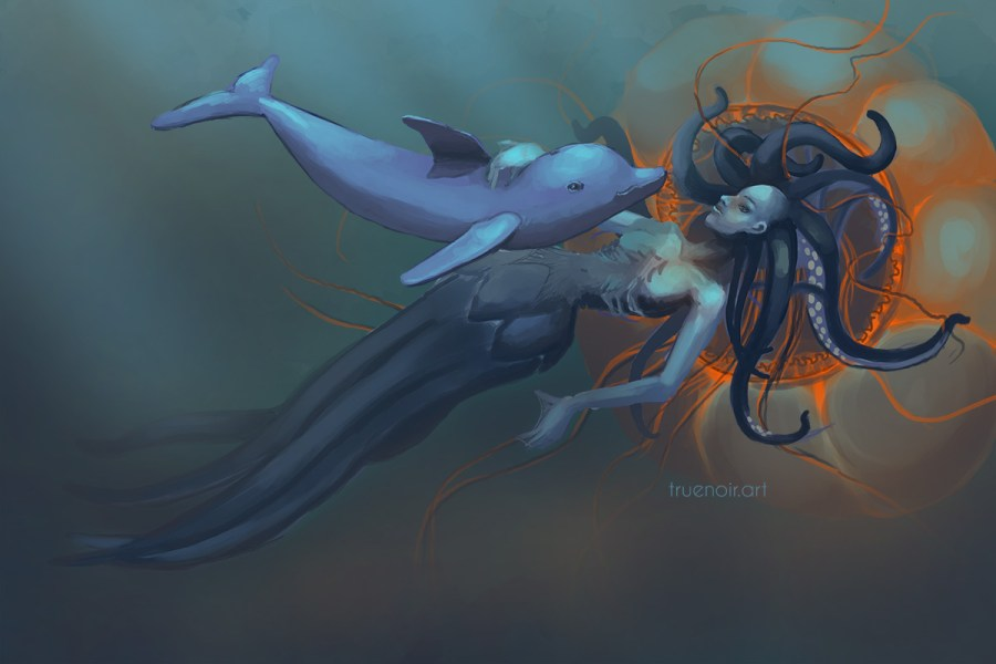 Drawing process of squid girl and dolphin underwater.