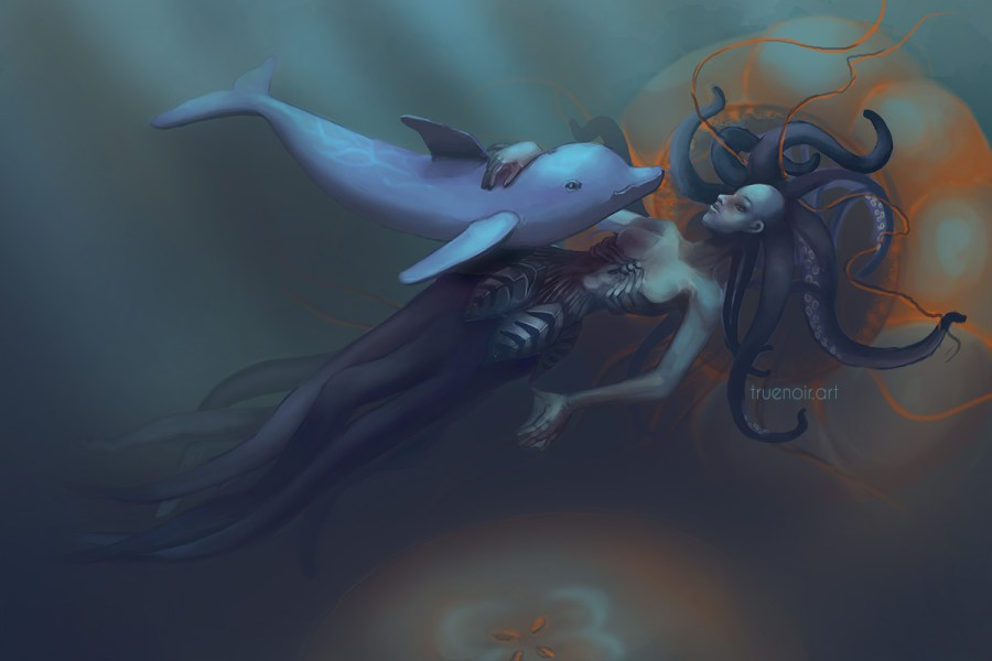 Digital drawing of a Squid-girl and Dolphin underwater.