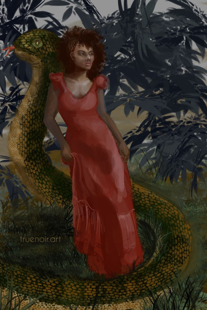 Digital painting of a woman in a red dress with a large snake in the background.