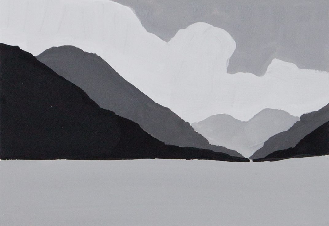 Monochrome value study of hill country