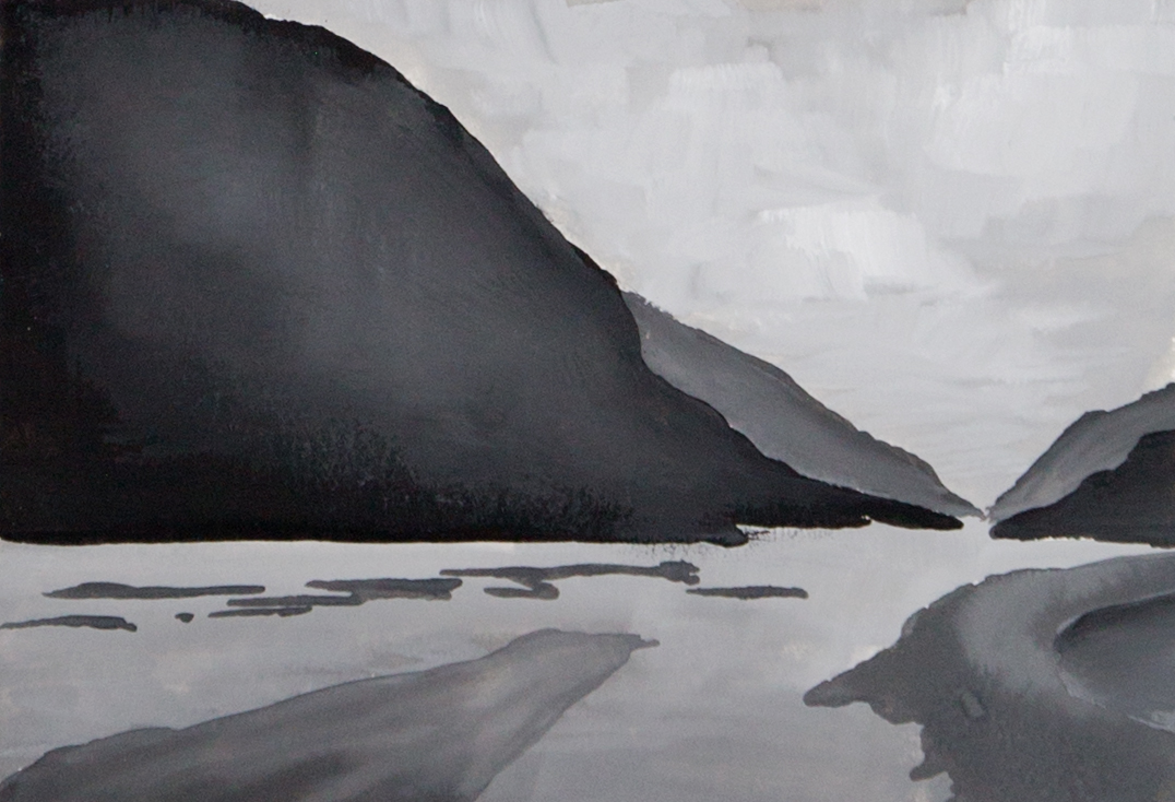 Monochromatic value and gradient study of mountain and river in gouache.