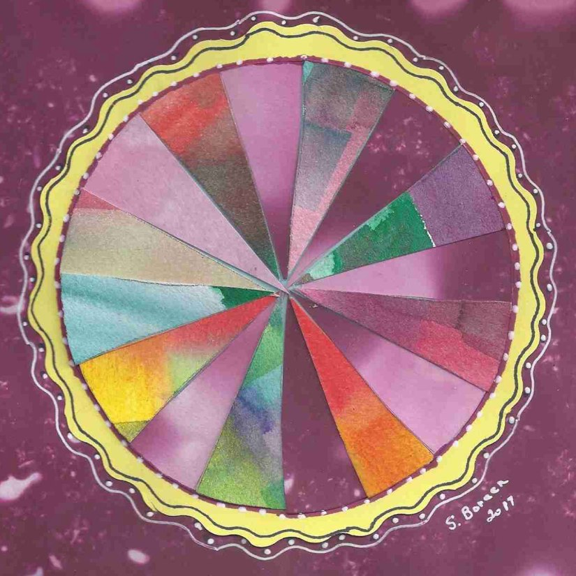 """Sandra's mandala inspired by the collage mandala project found on page 94 in """"The Mandala Guidebook."""""""