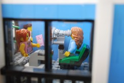 The eye exam equipment in my LEGO eye clinic.
