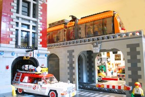 LEGO tram on the overpass.