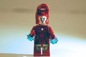 LEGO Iron Man helmet open.
