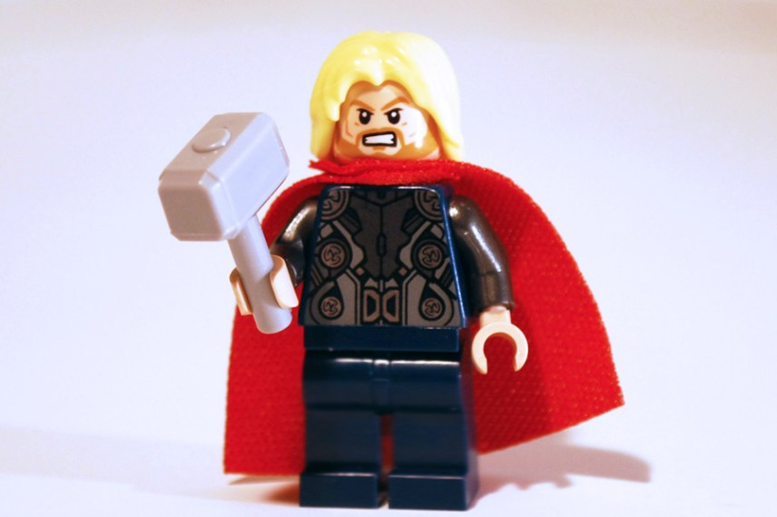 LEGO Thor front view with alternate face.