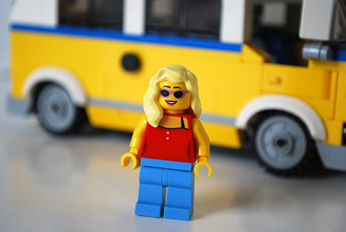 LEGO Sunshine Surfer Van female Minifigure front view.