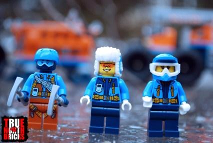 Arctic explorers' front view.