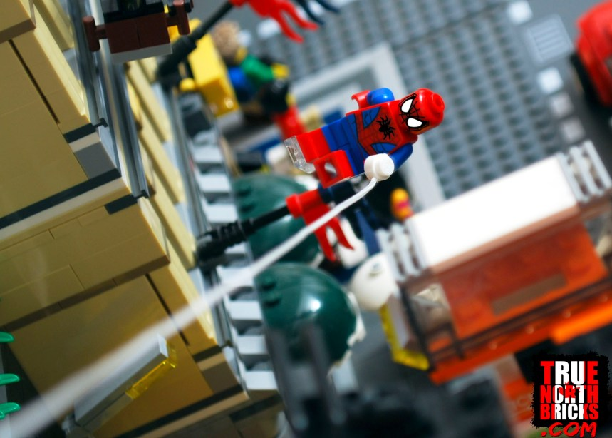 Turning key chains into Minifigures: Spider-Man in action.