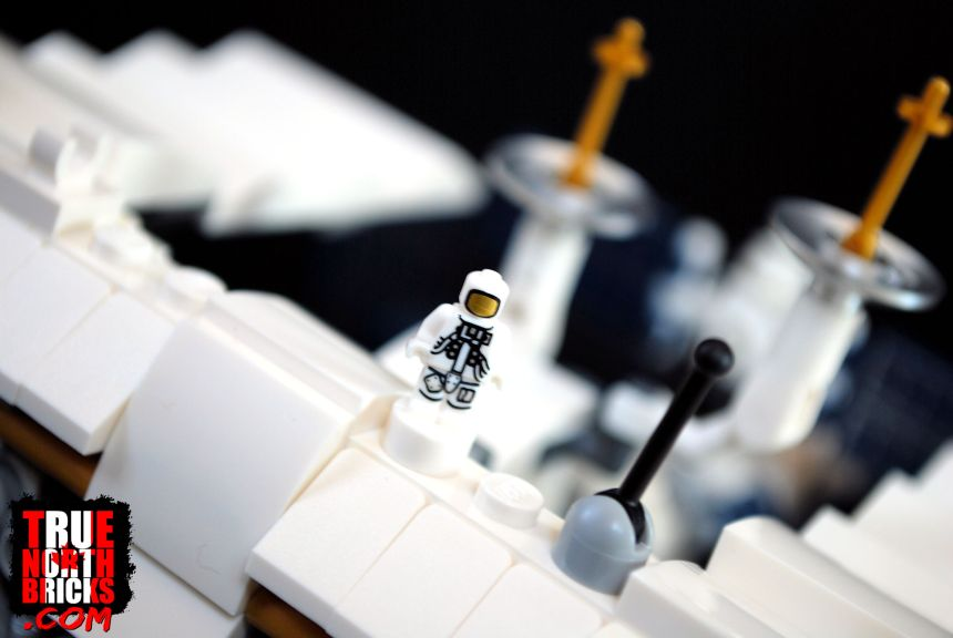 Micro-figurine spacewalking on the International Space Station.