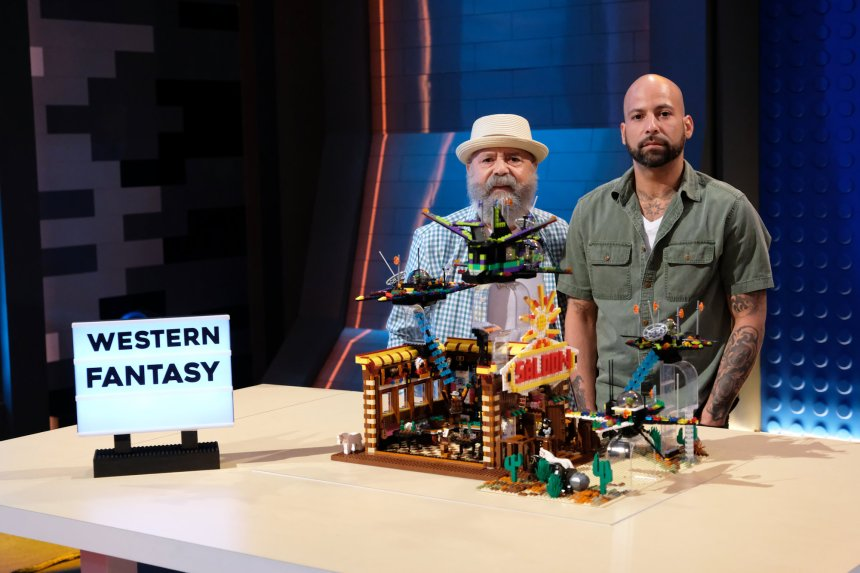 Manny and Nestor in Movie Genres on LEGO® Masters (©2020 FOX MEDIA LLC. CR: Ray Mickshaw/FOX).