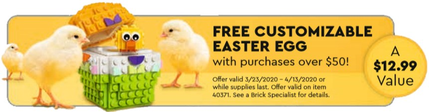 March 2020 LEGO® Store calendar Easter egg offer.