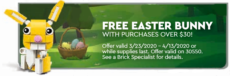 March 2020 LEGO® Calendar Easter bunny freebie offer.