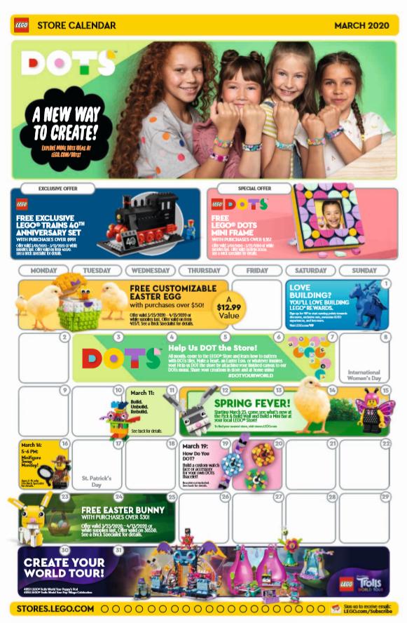 March 2020 LEGO® Store calendar.
